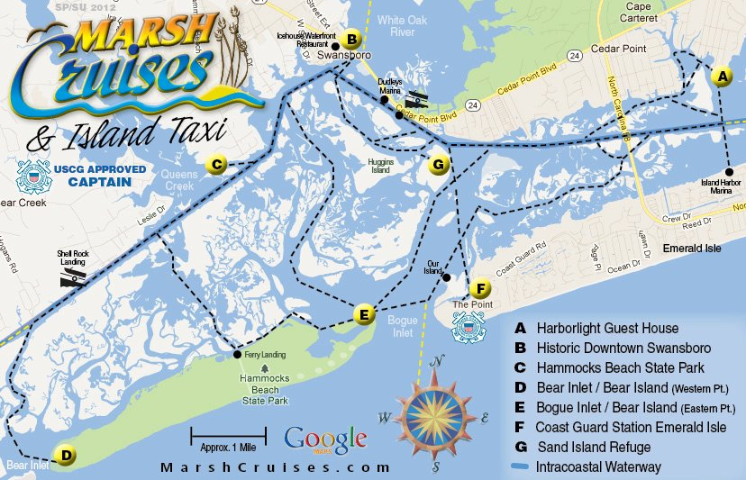 This map shows a couple of paths and destinations in the Swansboro / Emerald Isle area.